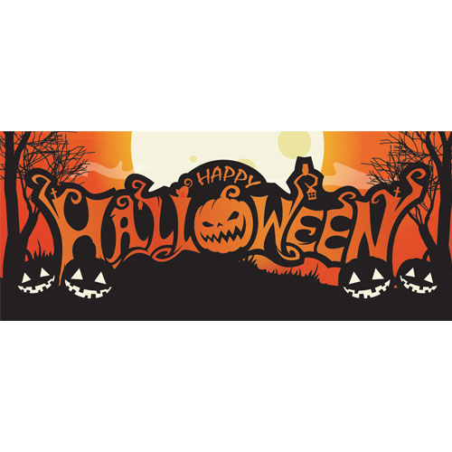 Happy Halloween Scary Night PVC Party Sign Decoration 60cm x 25cm Product Image