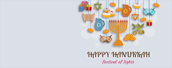 Happy Hanukkah Festival Of Lights Design Medium Personalised Banner – 6ft x 2.25ft