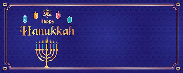 Happy Hanukkah Golden Menorah Candles Design Medium Personalised Banner – 6ft x 2.25ft