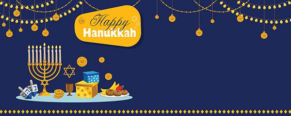 Happy Hanukkah Lights Garlands Design Medium Personalised Banner – 6ft x 2.25ft