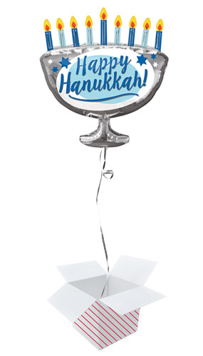 Happy Hanukkah Helium Foil Giant Balloon - Inflated Balloon in a Box Product Image