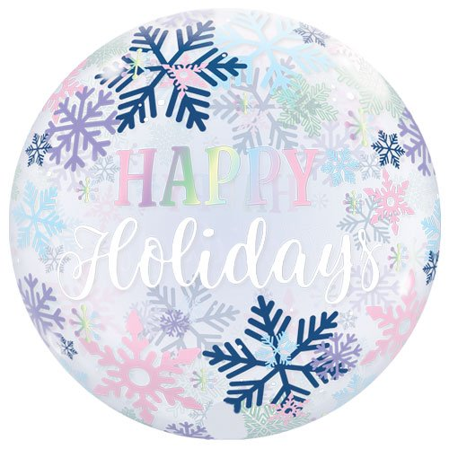 Happy Holidays Snowflakes Christmas Bubble Helium Qualatex Balloon 56cm / 22 in Product Image