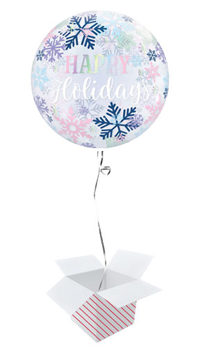 Happy Holidays Snowflakes Christmas Bubble Helium Qualatex Balloon - Inflated Balloon in a Box
