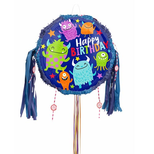 Happy Little Monsters Birthday Pull String Pinata