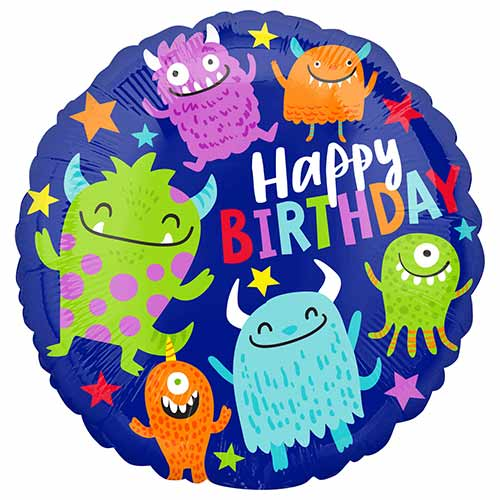 Happy Little Monsters Birthday Round Foil Helium Balloon 43cm / 17 in Product Image