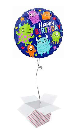 Happy Little Monsters Birthday Round Foil Helium Balloon - Inflated Balloon in a Box Product Image