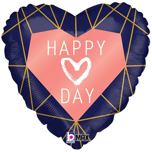 Happy Love Day Geo Navy Heart Shape Holographic Valentine's Foil Helium Balloon 46cm / 18 in Product Image