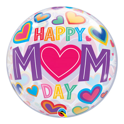 Happy Mom Day Hearts Bubble Helium Qualatex Balloon 56cm / 22 in Product Image