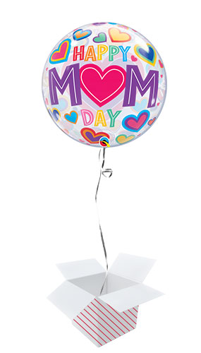 Happy Mom Day Hearts Bubble Helium Qualatex Balloon - Inflated Balloon in a Box