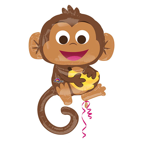 Happy Monkey Helium Foil Giant Balloon 91cm / 36 in Product Image