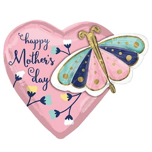 Happy Mother's Day Butterfly Heart Helium Foil Giant Balloon 66cm / 26 in