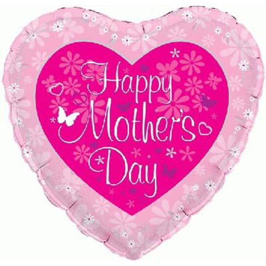 Happy Mothers Day Butterfly Heart Shaped Foil Helium Balloon 46cm / 18Inch Product Image