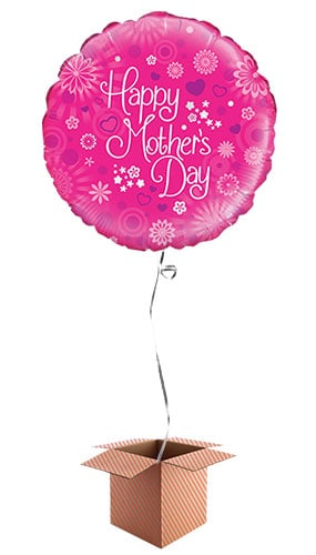 Happy Mothers Day Pink Round Foil Balloon - Inflated Balloon in a Box Product Image