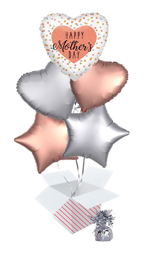 Happy Mother's Day Holographic Rose Gold Balloon Bouquet - 5 Inflated Balloons In A Box Product Image