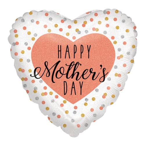 Happy Mother's Day Holographic Rose Gold Heart Helium Foil Balloon 46cm / 18Inch