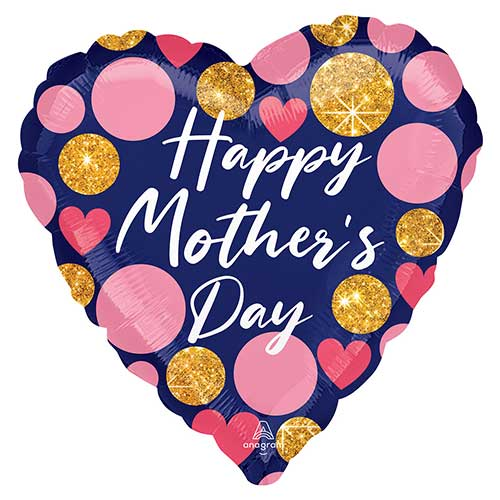 Happy Mother's Day Navy Heart Helium Foil Giant Balloon 71cm / 28 in Product Image