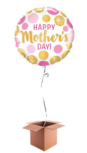 Happy Mother's Day Pink And Gold Dots Helium Foil Balloon - Inflated Balloon in a Box Product Image