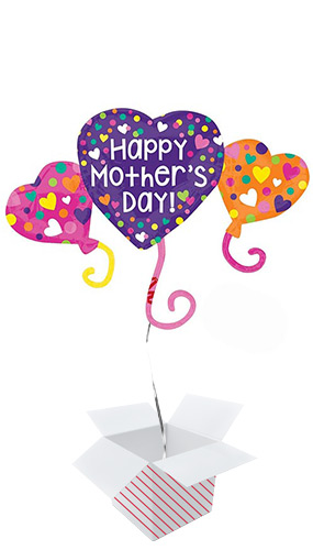 Happy Mother's Day Trio Helium Foil Giant Balloon - Inflated Balloon in a Box Product Image