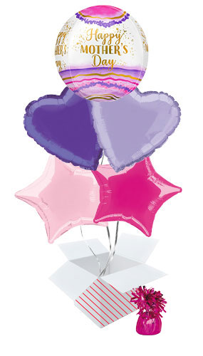 Happy Mother's Day Watercolour Geode Orbz Balloon Bouquet - 5 Inflated Balloons In A Box Product Image