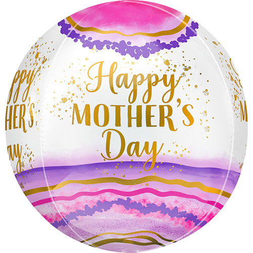 Happy Mother's Day Watercolour Geode Orbz Foil Helium Balloon 38cm / 15 in Product Image