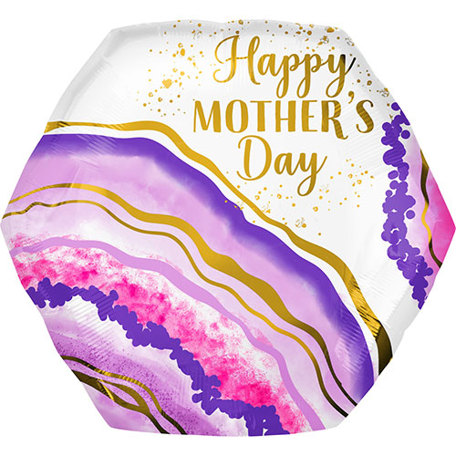 Happy Mother's Day Watercolour Geode Helium Foil Giant Balloon 58cm / 23 in Product Image