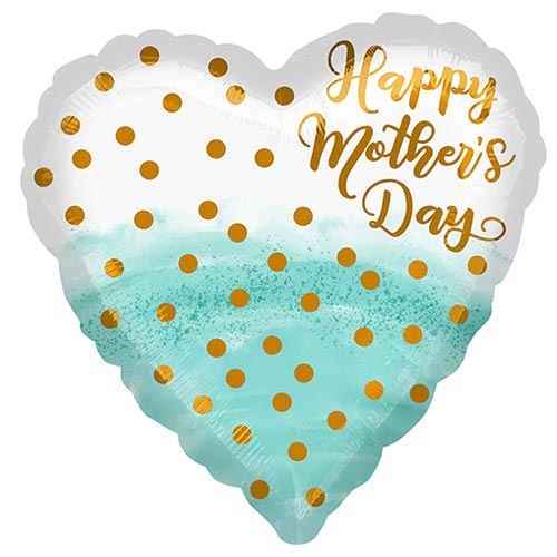 Happy Mother's Day Watercolour Heart Shape Foil Helium Balloon 43cm / 17 in Product Image