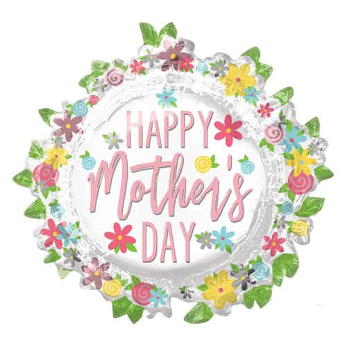 Happy Mother's Day Wreath Helium Foil Giant Balloon 76cm / 30 in