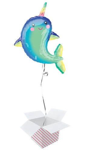 Happy Narwhal Helium Foil Giant Balloon - Inflated Balloon in a Box Product Image