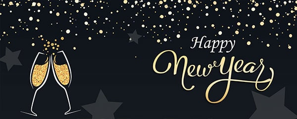Happy New Year Champagne Design Medium Personalised Banner – 6ft x 2.25ft