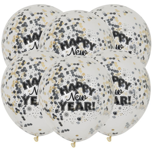 Happy New Year Clear Biodegradable Latex Balloons With Confetti - Pack of 6 Product Image