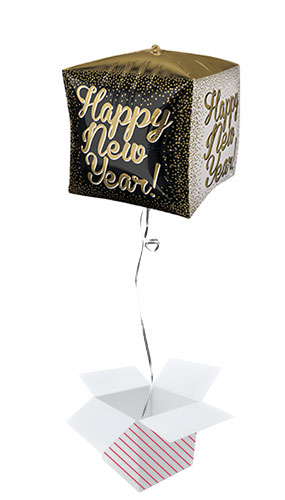 Happy New Year Cubez Foil Helium Balloon - Inflated Balloon in a Box
