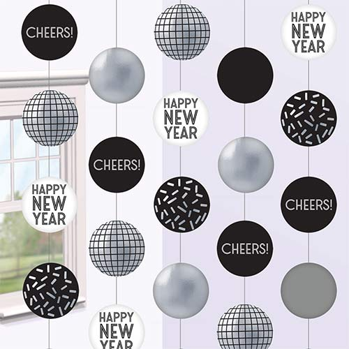Happy New Year Disco Ball String Hanging Decorations 150cm - Pack of 5 Product Image