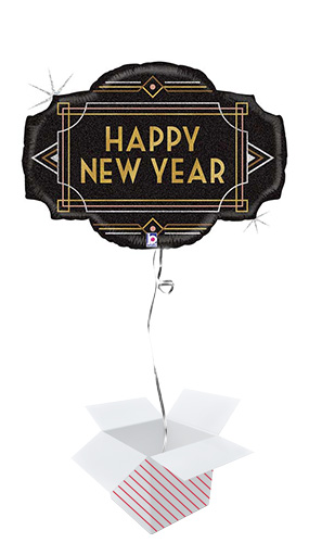 Happy New Year Glitter Foil Giant Balloon - Inflated Balloon in a Box Product Image