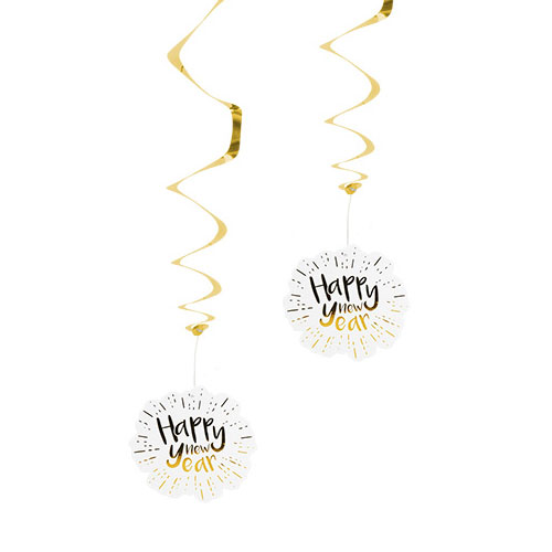 Happy New Year Gold Foiled Hanging Swirl Decorations - Pack of 2
