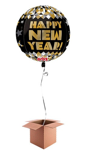 Happy New Year Orbz Foil Balloon - Inflated Balloon in a Box