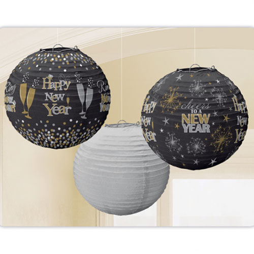 Happy New Year Paper Lanterns Hanging Decorations 24cm - Pack of 3 Product Image