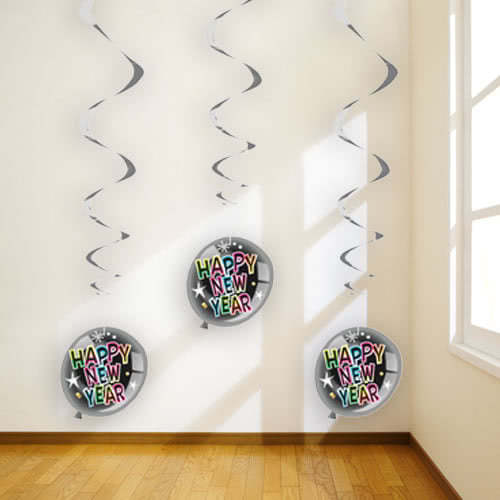 Happy New Year Swirl Hanging Decorations - Pack of 3