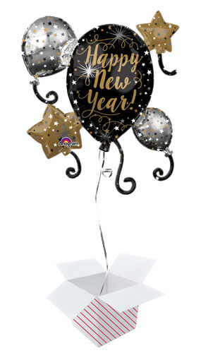 Happy New Year Helium Foil Giant Balloon Cluster - Inflated Balloon in a Box Product Image