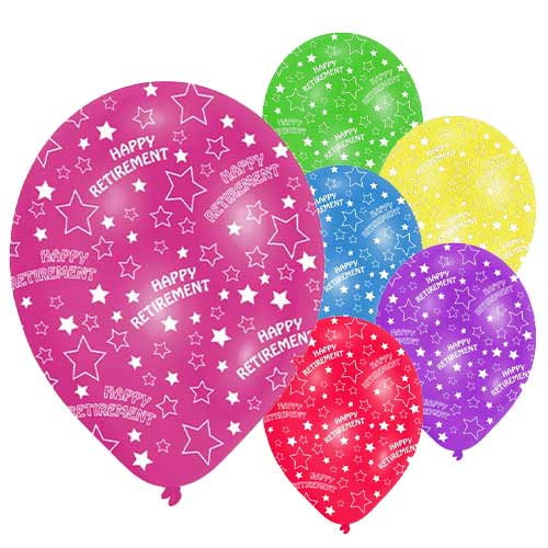 Happy Retirement Assorted Latex Balloons 28cm / 11 in - Pack of 6