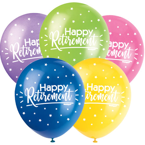 Happy Retirement Assorted Biodegradable Latex Balloons 30cm / 12Inch - Pack of 5 Product Image