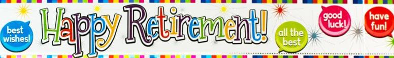 Happy Retirement Holographic Foil Banner 270cm Product Image