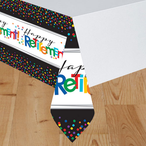 Happy Retirement Plastic Tablecover 259cm x 137cm Product Gallery Image