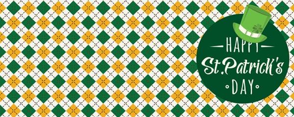 Happy St Patricks Day Argyle Pattern Design Large Personalised Banner - 10ft x 4ft