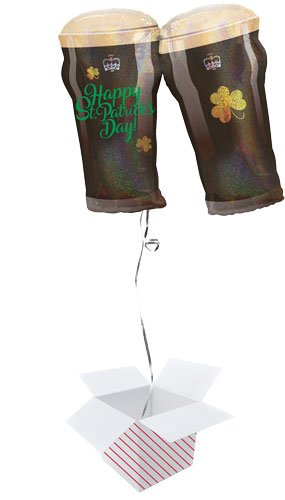 Happy St Patricks Day Beer Glasses Holographic Helium Foil Giant Balloon - Inflated Balloon in a Box