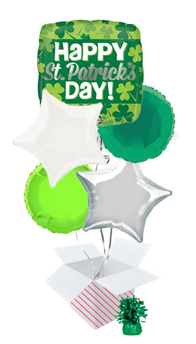 Happy St. Patrick's Day Clover Square Balloon Bouquet - 5 Inflated Balloons In A Box Product Image