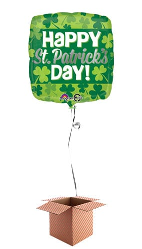 Happy St Patricks Day Clover Square Foil Balloon - Inflated Balloon in a Box