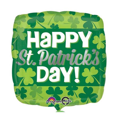 Happy St Patricks Day Clover Square Foil Helium Balloon 43cm / 17Inch