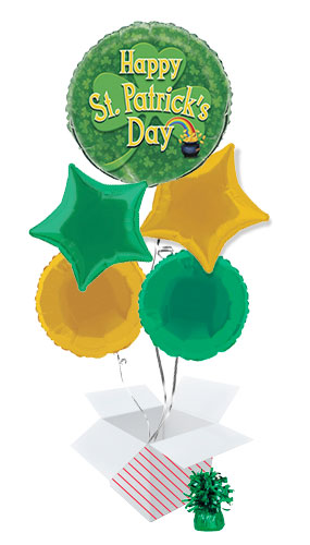 Happy St. Patrick's Day Gold Pot Balloon Bouquet - 5 Inflated Balloons In A Box Product Image