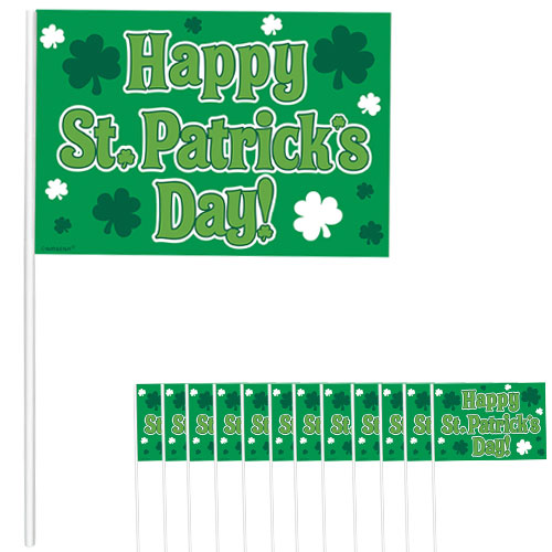 Happy St Patricks Day Plastic Flags 26cm - Pack of 12 Product Image