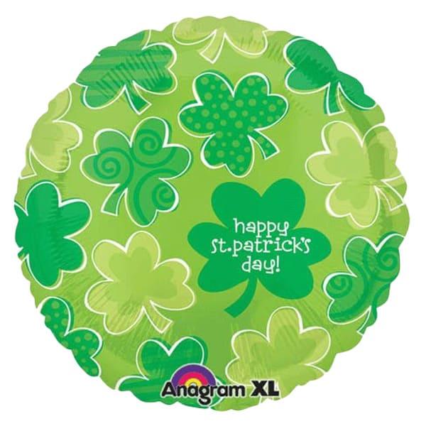 Happy St Patricks Day Playful Shamrock Foil Helium Balloon 46cm / 18Inch Product Image
